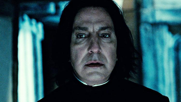 "In this film publicity image released by Warner Bros. Pictures, Alan Rickman portrays Professor Severus Snape in a scene from ""Harry Potter and the Deathly Hallows: Part 2."" (AP Photo/Warner Bros. Pictures)"