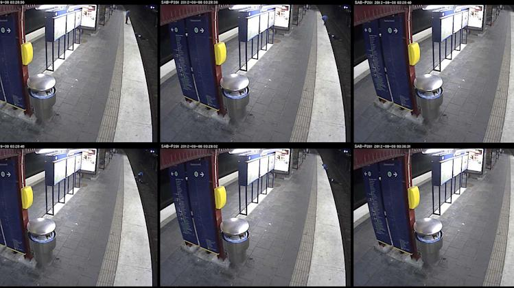 A composite image from September 8 CCTV footage made available by Swedish Police on Wednesday, Sept. 12, 2012, shows the victim, returning home after a drunken night on the town, falling down on the tracks at Sandsborg metro station south of Stockholm. He was then robbed and left to be run over by an oncoming train. The man survived, sustaining serious injuries. (AP Photo/Swedish Police) SWEDEN OUT