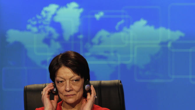 Newly named Interpol president Mireille Balestrazzi attends the closing session of the 81st Interpol General Assembly, in Rome, Thursday, Nov. 8, 2012. The 81st session of the general assembly of the Interpol closed with the election of its first female president, France's Mireille Ballestrazzi. (AP Photo/Alessandra Tarantino)