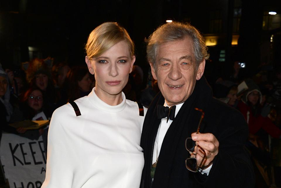 "Actors Cate Blanchett and Ian McKellan arrive at the UK premiere of ""The Hobbit: An Unexpected Journey"" at The Odeon Leicester Square, London on Wednesday, Dec. 12, 2012. (Photo by Jon Furniss/Invision/AP)"