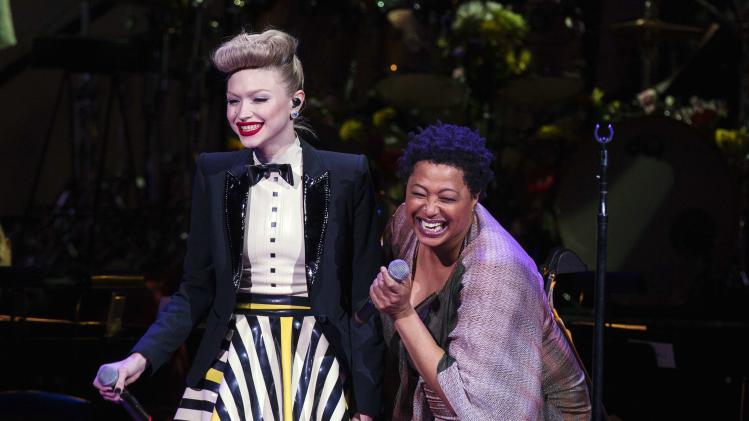 Singerd Ivy Levan and Lisa Fischer perform during the Rainforest Fund's 25th anniversary benefit concert in New York