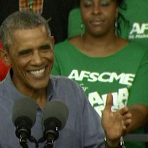 OBAMA REVS UP UNION CROWD