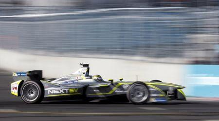 NEXTEV TCR driver Nelson Piquet of Brazil competes in the Formula E Championship race in central Moscow