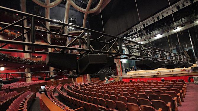 This undated image released by Dolby Laboratories shows trusses prepared with overhead speakers before being lifted into place at the new Dolby Theatre in Los Angeles. The posh 3,400-seat Hollywood & Highland Center home of the Academy Awards is officially christened with a new name and a state-of-the-art audiovisual system that can project 3-D imagery and blast sound from multiple perspectives. (AP Photo/Dolby Laboratories)