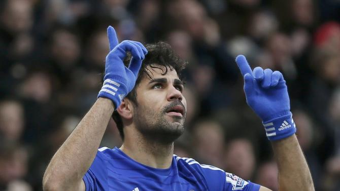 Chelsea's Diego Costa celebrates after scoring a goal against West Ham United during their English Premier League soccer match at Stamford Bridge in London