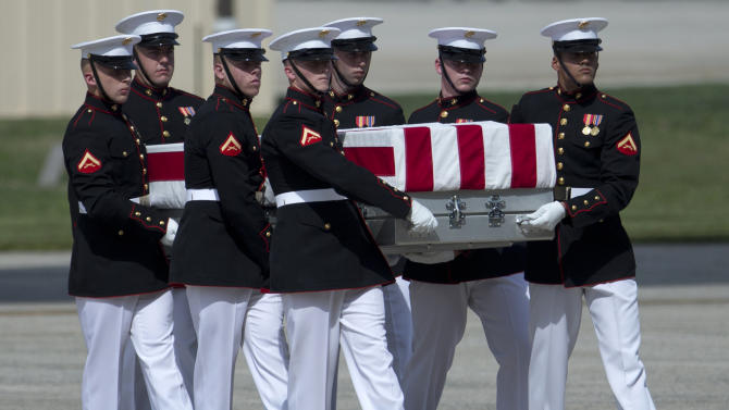 A carry teams moves a flag-draped transfer case of the remains of one of the Americans killed this week in Benghazi, Libya, from a transport plane during the Transfer of Remains Ceremony, Friday, Sept. 14, 2012, at Andrews Air Force Base, Md., marking the return to the United States of the remains of the four Americans killed this week in Benghazi, Libya. (AP Photo/Carolyn Kaster)