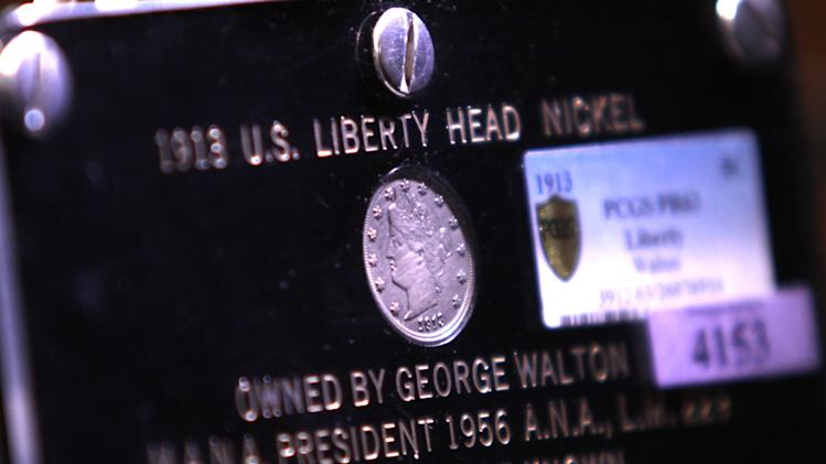This 1913 Liberty Head Nickel - one of only five known to exist - was auctioned Thursday, April 25, 2013  night during the Central States Numismatic Society show at the Schaumburg Convention Center in Schaumburg, Ill. for $3,172,500.  (AP Photo/Daily Herald,  Patrick Kunzer)