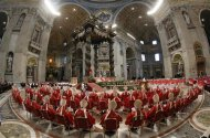 "REFILE - CORRECTING GRAMMAR Cardinals attend a mass in St. Peter's Basilica at the Vatican March 12, 2013. All cardinals, including those over 80 who will not vote in the conclave, celebrate Mass in St Peter's Basilica to pray for the election of the new pope. The Mass is called ""Pro Eligendo Romano Pontefice"" (""For the Election of the Roman Pontiff"") and is open to the public. REUTERS/Stefano Rellandini"