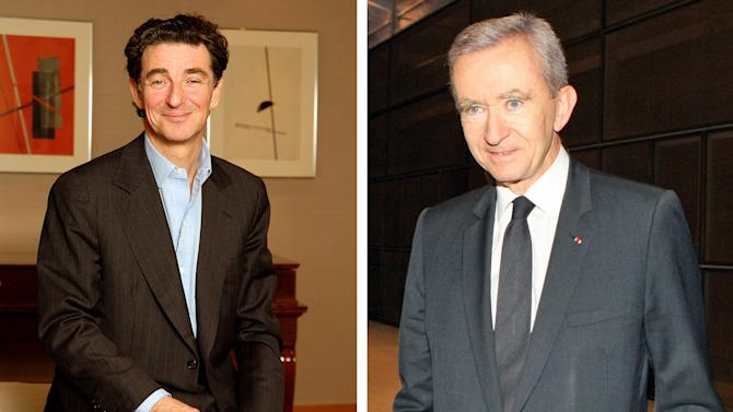 "FILES - This combination image shows French financier Edouard de Rothschild in an undated file photo released by the Rothschild office, left, and French luxury goods group LVMH chairman Bernard Arnault on Thursday, Feb. 4, 2010 in Paris. The tycoon stakeholder of French newspaper Liberation has defended his rag's stinging criticism of another tycoon: Europe's richest man, Arnault, who's seeking citizenship in Belgium, where taxes are lower. Edouard de Rothschild said on the night of his paper's controversial headline Monday, Sept. 10, 2012, which told Arnault, who is worth an estimated $41 billion to ""Get lost, rich jerk,"" amounted to a ""beautiful marketing operation.""  It's thought Arnault is trying to dodge the new Socialist government's tax of 75% for the highest earners, a charge he vehemently denies. Arnault is suing the paper for ""public injury."" (AP Photo/Rotschild Office/Jacques Brinon)"