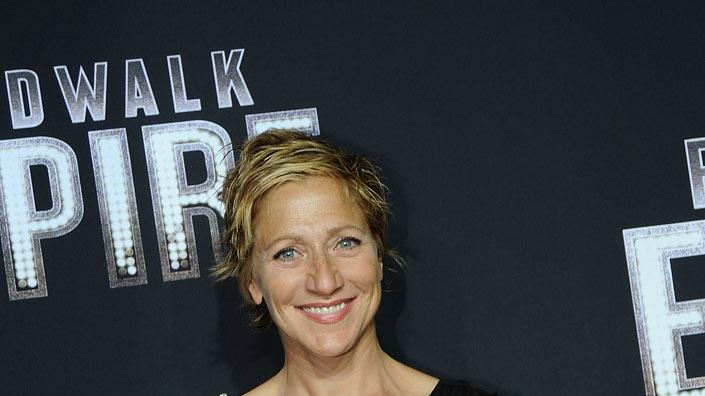 "Edie Falco attends the premiere of ""Boardwalk Empire"" at the Ziegfeld Theatre on September 15, 2010, in New York City."