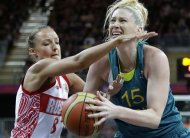 Russia's Alena Danilochkina (8) pressures Australia's Lauren Jackson (15) during a preliminary women's basketball game at the 2012 Summer Olympics, Friday, Aug. 3, 2012, in London. (AP Photo/Eric Gay)