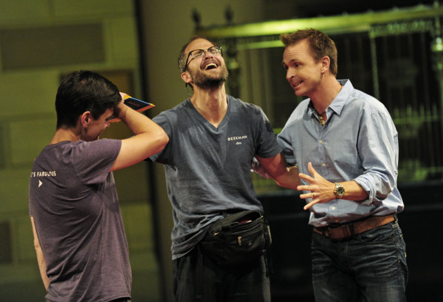 &quot;Take Down that Million&quot; - Host Phil Keoghan (right) welcomes Goat Farmers/Life Partners Brent (left) and Josh (center) as they cross the finish line in New York City to win one million dollars, during the two-hour season finale of THE AMAZING RACE, Sunday, Dec. 9 (8:00-10:00 PM, ET/PT) on the CBS Television Network.