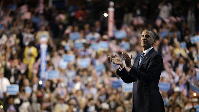 President Barack Obama waves after his speech at the Democratic National Convention in Charlotte, N.C., on Thursday, Sept. 6, 2012. (AP Photo/David Goldman)