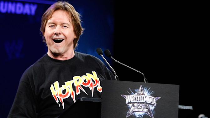 """WWE Hall of Fame Wrestler """"Rowdy"""" Roddy Piper speaks during a press conference in New York in this file photo"""