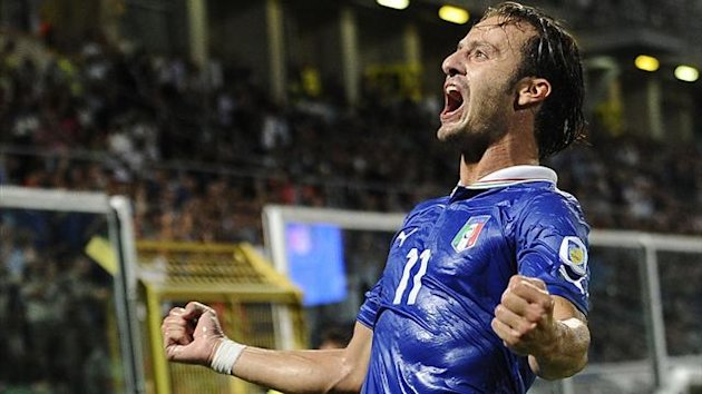 Italy's Alberto Gilardino celebrates after scoring against Bulgaria during their World Cup qualifying soccer match at the Renzo Barbera Stadium in Palermo September 6, 2013 (Reuters)