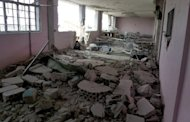A picture from the Syrian opposition's Shaam News Network shows destruction at a school in Qusayr on April 30