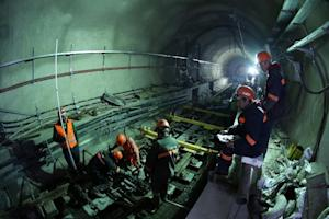 Employees work in the Marmaray Tunnel under the Bosphorus …