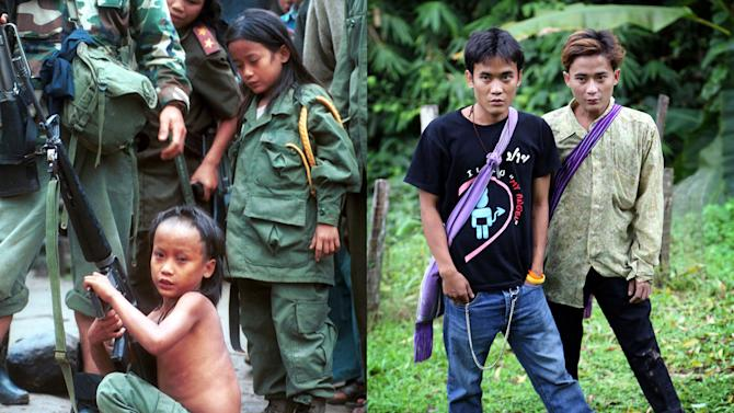 """This combination of Dec. 6, 1999 and Sept. 26, 2013 photos shows Luther Htoo, left, and his brother Johnny at their jungle camp in Myanmar and 14 years later in western Thailand. When they were kids, the twins were bulletproof and invulnerable to land mines - or so went the story that briefly made them famous as hundreds of guerrillas followed and even worshipped them in the southeastern jungles of Myanmar. Over a decade later, their """"God's Army"""" is no more, and the twins' greatest accomplishment may be that both are still alive. (AP Photo/Apichart Weerawong)"""