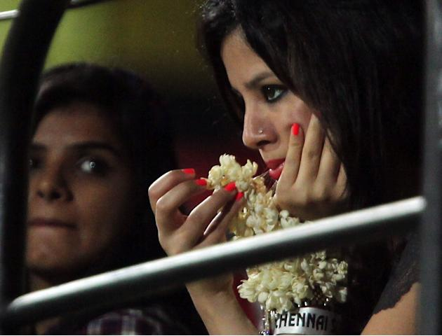 Sakshi, wife of MS Dhoni during the match between Chennai Super Kings and Delhi Daredevils at MA Chidambaram stadium in Chennai on May 14, 2013. (Photo: IANS)