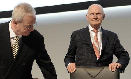 Piech, chairman of the board of German carmaker Volkswagen, and Winterkorn, CEO of Volkswagen, arrive at the 51th annual shareholders meeting in Hamburg.