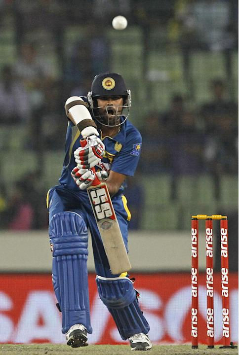 Sri Lanka's Lahiru Thirimanne plays a shot during the Asia Cup final cricket match against Pakistan in Dhaka, Bangladesh, Saturday, March 8, 2014. (AP Photo/A.M. Ahad)