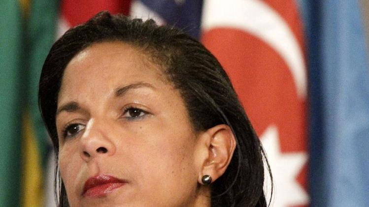 FILE - This June 7, 2012 file photo shows U.S. Ambassador to the U.N. Susan Rice listening during a news conference at the UN.  The Obama administration on Monday rejected a demand from a senior Republican lawmaker that the U.S. ambassador to the United Nations to resign. Rep. Peter King of New York said last week Susan Rice's explanation of the Sept. 11 attack on the U.S. Consulate in Benghazi, Libya, was a foreign policy failure.  (AP Photo/Bebeto Matthews)