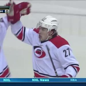 Justin Faulk strikes quickly on Mazanec