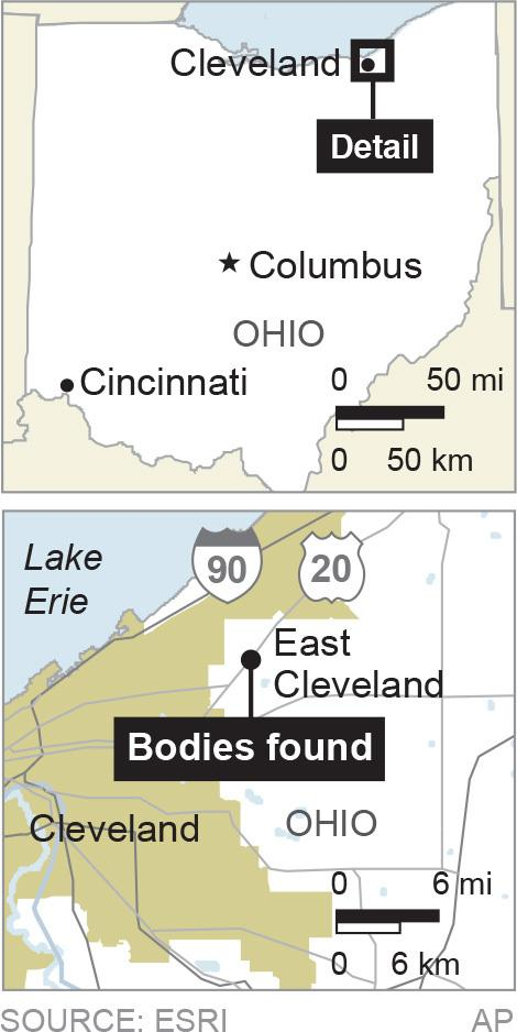 Map locates East Cleveland, Ohio, where bodies were found; 1c x 3 inches; 46.5 mm x 76 mm;