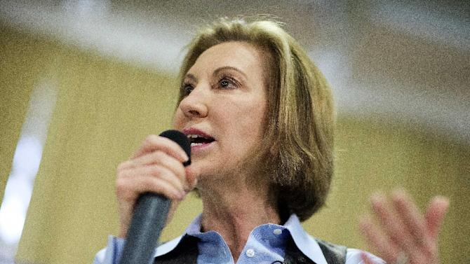 FILE - In this Feb. 6, 2016 file photo, Republican presidential candidate Carly Fiorina speaks at a campaign event in Goffstown, N.H. Fiorina exited the 2016 Republican presidential race Wednesday,Feb. 10, 2016,  after winning praise for her debate prowess, but struggling to build a winning coalition in a crowded GOP field. (AP Photo/David Goldman, File)
