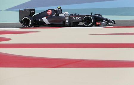 Giedo van der Garde of the Netherlands drives during the first practice session of the Bahrain F1 Grand Prix at the Bahrain International Circuit (BIC) in Sakhir