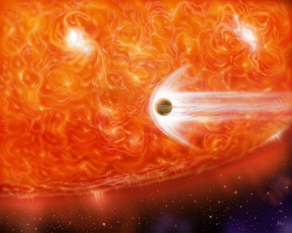 Giant Dying Star Caught Devouring Alien Planet