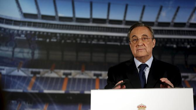 Real Madrid's President Florentino Perez gestures during a news conference at Santiago Bernabeu stadium in Madrid