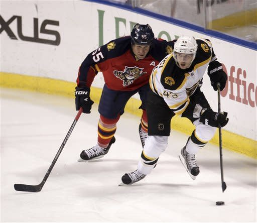 Panthers score 3 times in 2nd to beat Bruins 6-2