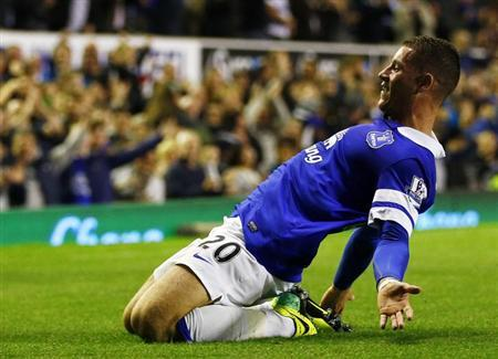 Everton's Ross Barkley celebrates his goal against Newcastle United during their English Premier League soccer match at Goodison Park in Liverpool, northern England, September 30, 2013. REUTERS/Da