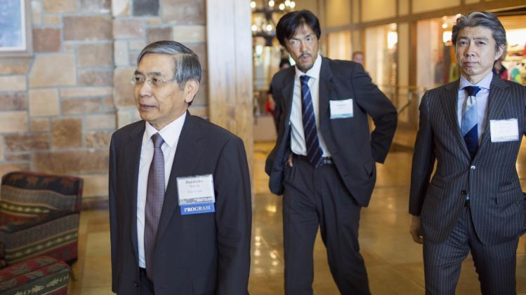 BOJ Governor Haruhiko Kuroda enters the opening reception of the Jackson Hole Economic Policy Symposium in Jackson Hole