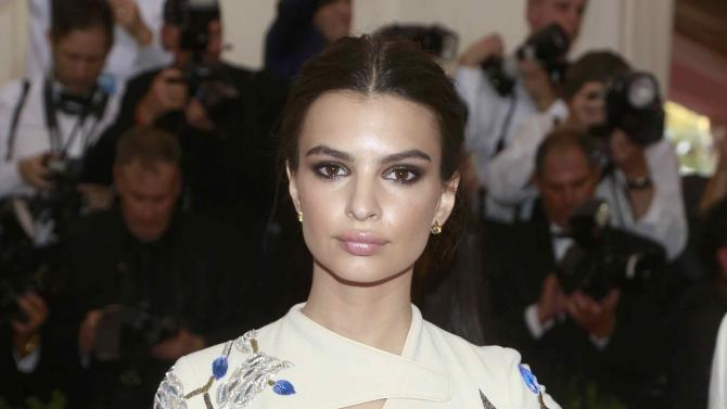 "British born U.S. model and actress Emily Ratajkowski arrives for the Metropolitan Museum of Art Costume Institute Gala 2015 celebrating the opening of ""China: Through the Looking Glass,"" in Manhattan"