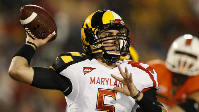 Maryland quarterback Danny O'Brien throws to a receiver in the first half of an NCAA football game against Miami in College Park, Md., Monday, Sept. 5, 2011. (AP Photo/Patrick Semansky)