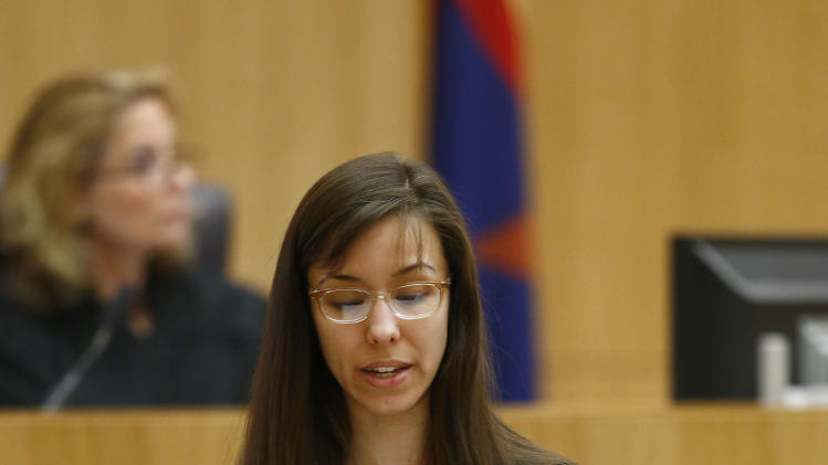 Jodi Arias reads her statement to the jury on Tuesday, May 21, 2013, during the penalty phase of her murder trial at Maricopa County Superior Court in Phoenix.  Arias was convicted of first-degree murder in the stabbing and shooting to death of Travis Alexander in his suburban Phoenix home in June 2008. (AP Photo/The Arizona Republic, Rob Schumacher, Pool)