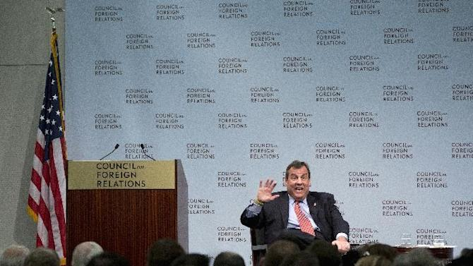 Republican presidential candidate, New Jersey Gov. Chris Christie speaks at the Council on Foreign Relations in Washington, Tuesday, Nov. 24, 2015, on strengthening U.S. intelligence capabilities and other topics. (AP Photo/Carolyn Kaster)