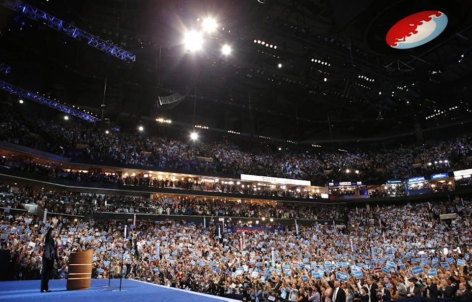 President Barack Obama waves after his speech at the Democratic National Convention in Charlotte, N.C., on Thursday, Sept. 6, 2012. (AP Photo/Jae C. Hong)