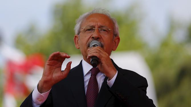 Turkey's main opposition Republican People's Party (CHP) leader Kilicdaroglu addresses his supporters during an election rally for Turkey's June 7 parliamentary election