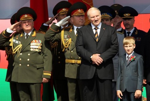 &lt;p&gt;Belarus President Alexander Lukashenko (second right) and his young son Nikolay, &#39;Kolya&#39; Lukashenko (right), watch a military parade to mark the nation&#39;s Independence Day in central Minsk, on July 3. Lukashenko on Monday fired his foreign minister as part of a sweeping reshuffle that follows a diplomatic crisis in ties with Sweden after a pro-democracy stunt allegedly involving teddy bears.&lt;/p&gt;