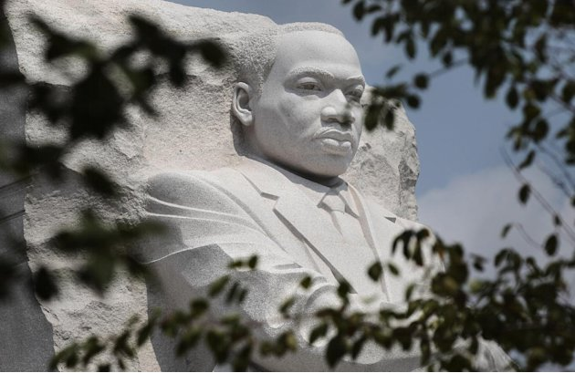 A detail of the memorial to the Rev. Martin Luther King Jr. is seen on the National Mall in Washington, Sunday, Aug., 21, 2011. The memorial for the late civil rights leader is scheduled to be dedicat
