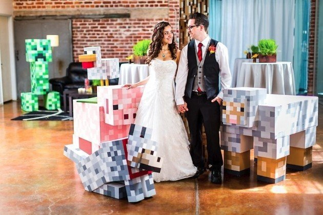 Minecraft themed wedding shows the building blocks of love unplugged