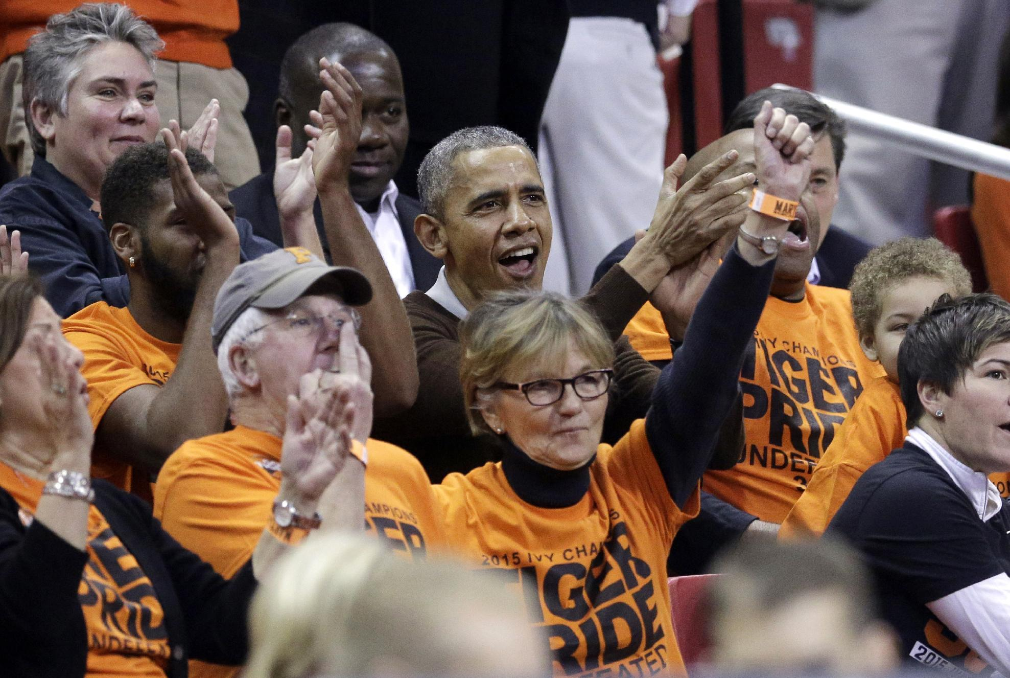 President Obama attends a March Madness game