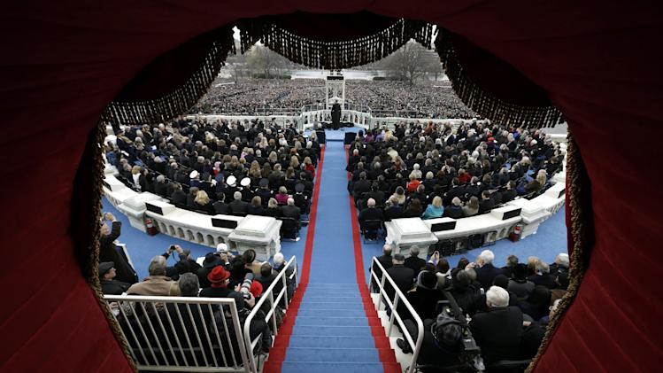 President Barack Obama delivers his Inaugural address at the ceremonial swearing-in at the U.S. Capitol during the 57th Presidential Inauguration in Washington, Monday, Jan. 21, 2013. (AP Photo/Evan Vucci, Pool)