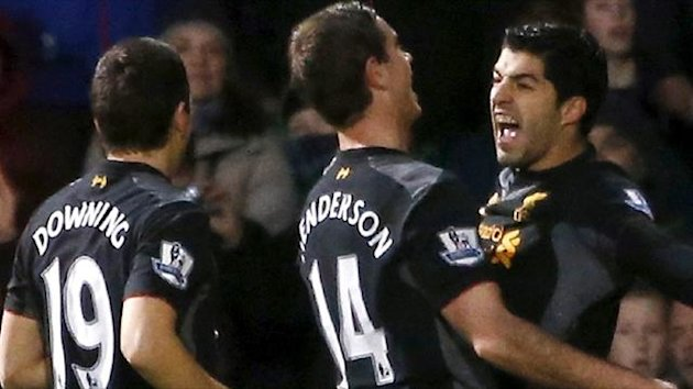 Luis Suarez celebrates scoring - QPR v Liverpool