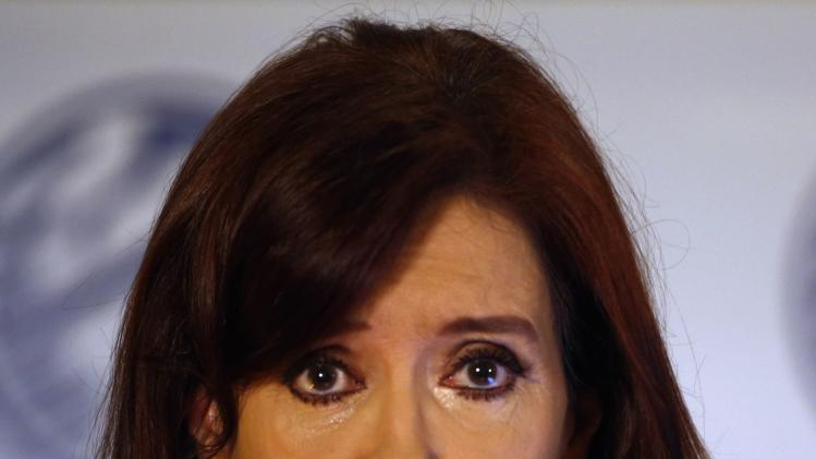 Argentina's President Cristina Fernandez de Kirchner speaks during a ceremony at Buenos Aires' Stock Exchange