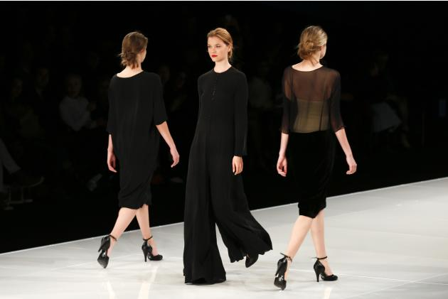 Models present creations by Israeli designer Tamara Salem during Tel Aviv Fashion Week