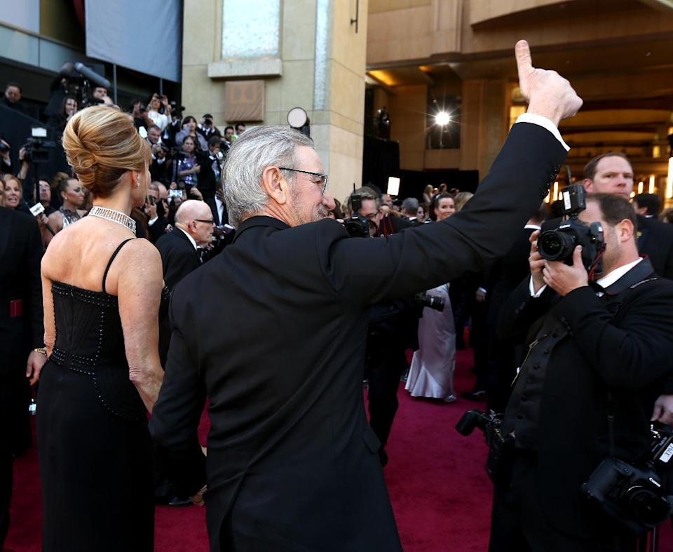 Kate Capshaw, left, and director Steven Spielberg arrive at the Oscars at the Dolby Theatre on Sunday, Feb. 24, 2013, in Los Angeles. (Photo by Matt Sayles/Invision/AP)